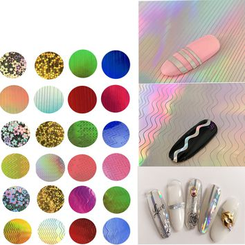 Multi-style Nail Art Transfer Foils French Stencil Gradient Stripe Laser Stickers Gel Polish Tips Magic Aurora Foil DIY Decals