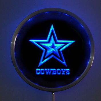 rs-b0039 Dallas Cowboys LED Neon Round Signs 25cm/ 10 Inch - Bar Sign with RGB Multi-Color Remote Wireless Control Function