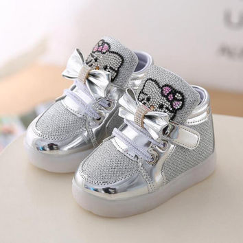 Fashion Spring Children Casual Little Girl Flashing Shoes Sneakers Hello Kitty Kids Light Up With For Princess Toddler Luminous