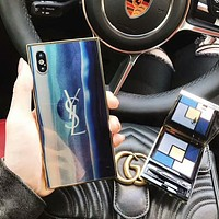YSL Fashion iPhone Phone Cover Case For iphone 6 6s 6plus 6s-plus 7 7plus 8 8plus X Blue I-OF-SJK