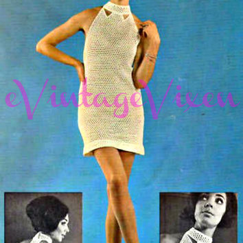Racerback Mini Dress with Collar Cut-Outs Vintage 60s Crochet Pattern Instant Download PDF Mod Dress Beauty Festival Bust 34 36 Vintage Beso