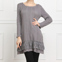 Gray Cable-Knit Sweater Dress | zulily