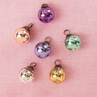 Luna Bazaar Mini Glass Ornaments (Classic Ball Design, 1 - 1.5 Inches, Assorted Pastel Colors, Set of 6) - Vintage-Style Decorations