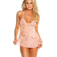 Lace Babydoll w/Adjustable Straps & G-String