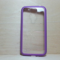 For Samsung Galaxy S4 Purple Silicone Bumper and Clear Hard Plastic Case