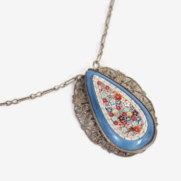 Vintage 30s NECKLACE / 1930s Italian Micro Mosaic Silver Filligree Pendant Necklace