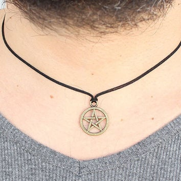 Pentagram necklace bronze for men valentines day gift boyfriend gift gift for him spiritual jewelry pagan amulet