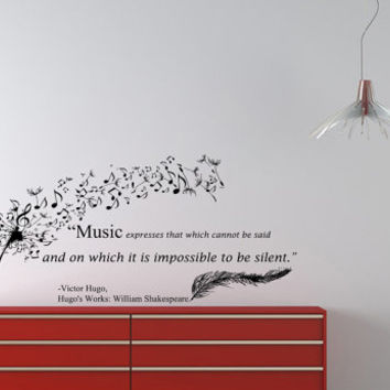 Housewares Wall Vinyl Decal Quote Victor Hugo Hugo's Works William Shakespeare Dandelion Feather Music Notes Sticker V70
