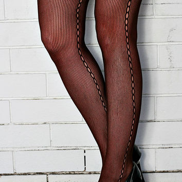 Vintage High Quality Brown Seam, Steampunk, Punk, Mod Nylon Tights Pantyhose One Size