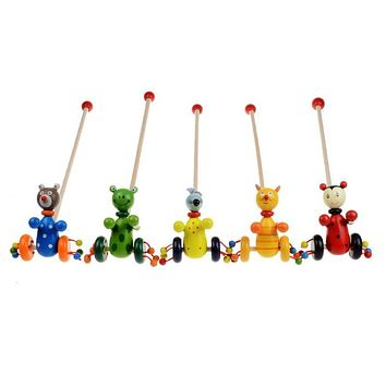 Baby Toys Cartoon Baby Toddler Child Putting Animals Wooden Puzzle Trolley Kids Wooden Puzzle Gift