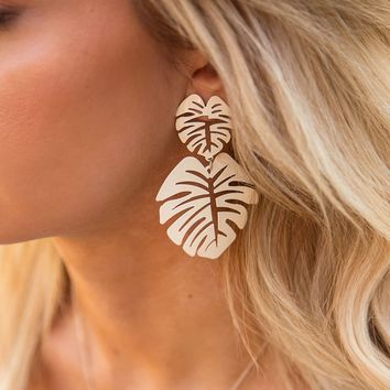 Oasis Ivory Monstera Leaf Earrings
