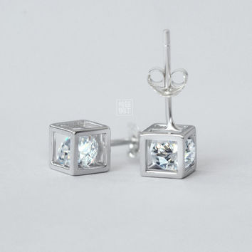 Women 925 Sterling Silver Square Diamond Earrings Christmas jewelry gift