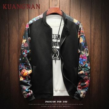 Trendy KUANGNAN Fashion Men Jacket Coat Hip Hop Patchwork Streetwear Men Jacket Coat College Bomber Jackets For Men 2018 Autumn AT_94_13