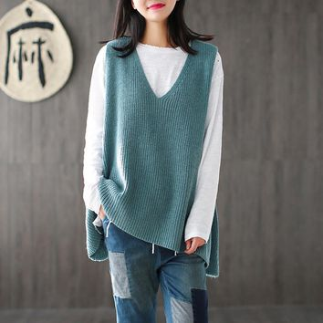 Women 2017 Spring Sleeveless Knitwear Ladies V neck Knitted Vests Tanks Female Loose Sweaters Plus Size Vests
