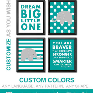 teal grey kids playroom art elephant nursery dream big and you are braver quote safari nursery decor boys room decor baby nursery decor