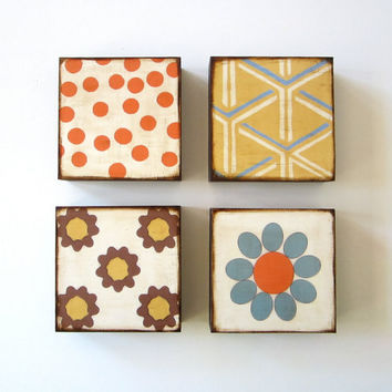 Art Block Four/4 Set 5x5 wood Mix and Match by redtilestudio