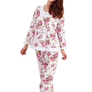 CREYCI7 Long Sleeved Ladies Pajamas Set Cotton Pyjamas for Women Pijama Mujer Floral Print Sleepwear Homewear Nightgown Asia/Tag M-3XL