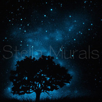 Oak tree with the Southern Cross and Centaurus - Glow in the Dark Star Poster - Glows all Night!