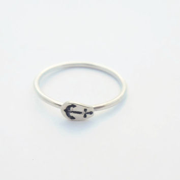 Sterling Silver Tiny Anchor Ring - Stacking Ring - Stamped Charm - Any Size - Gift for Daughter - Nautical - Friend - Cute Stacker Ring