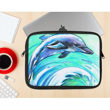 The Pastel Vibrant Blue Dolphin Ink-Fuzed NeoPrene MacBook Laptop Sleeve