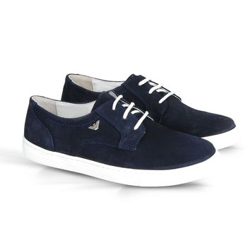 Armani Boys Navy Blue Suede Shoes