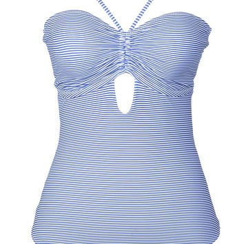 Cupshe So Breezy Stripe Lace Up One-piece Swimsuit