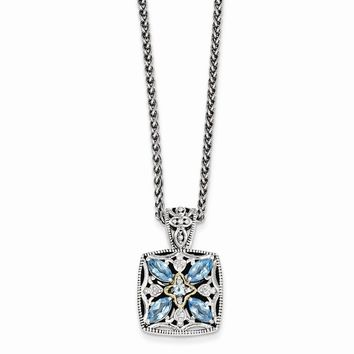 Sterling Silver w/14k Gold Diamond & Blue Topaz Necklace