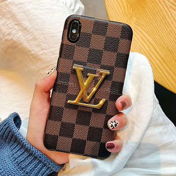 LV Trending Stylish Louis Vuitton Retro Soft Mobile Phone Cover Case For iphone 6 6s 6plus 6s-plus 7 7plus 8 8plus X XsMax XR Coffee Tartan