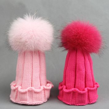100% Real Fur pompoms Ball Kids Winter Warm Raccoon Fox Fur Hat For Baby Girls Boys Beanies Cap Crochet Children Knitted Hats