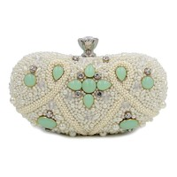 Women Party Handmade Pearl Clutch Bag Bridal Wedding Beaded Hand bags Metal Clutches Hard Case Crystal Crystal Evening Purse