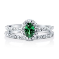 Oval Emerald CZ 925 Sterling Silver 2-Pc Halo Wedding Ring Set 0.43 Ct #r671-em