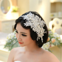 Handmade Lace Wedding Tiara Rhinestone Pearl Bridal Hair Accessories Crystal Wedding Headband Hair Jewelry