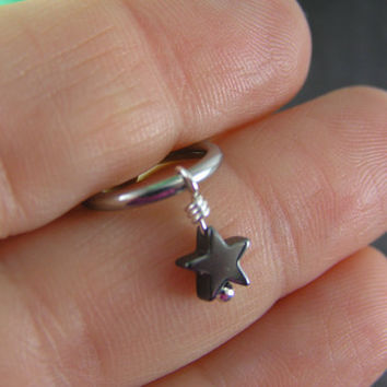 Tiny Hematite Star on Captive Bead Ring ~ 14g 16g gauge Ear Piercing Cartilage Hoop Belly Conch Helix Tragus Intimate Jewelry
