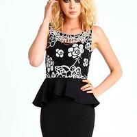 Floral Sequin Peplum Dress