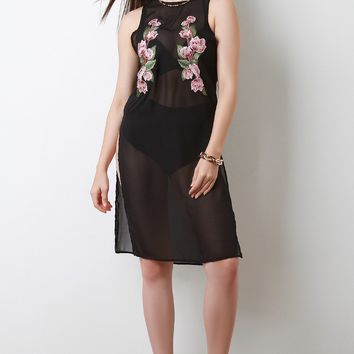 Sleeveless Floral Applique Mesh Cover Up Dress