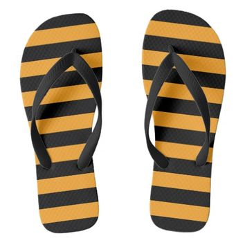 Black and orange stripes pattern flip flops