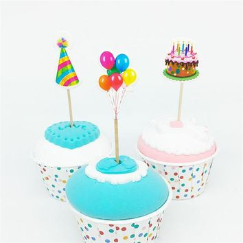 18pcs Balloon hat Cupcake Toppers Picks Birthday Party Decoration Kids Baby Shower gilr Favors Cake Decorating