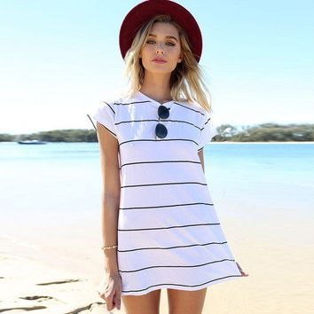 Beach black and white wide stripes dress