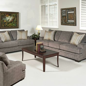 2 pc Serta upholstery Claude collection smoothie gray upholstery sofa and love seat set with low rise arms