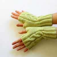 Knitting Fingerless Gloves Mittens Arm Warmers Harvest Green. Autumn trend. Light  Green