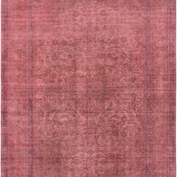 "9'5"" x 13'3"" Peach Pink Turkish Overdyed Rug"