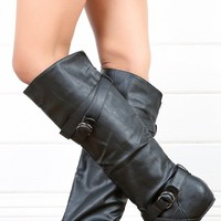 Wild Diva Candies64 Black Double Buckle Flat Knee High Boots and Shop Boots at MakeMeChic.com