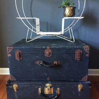 Vintage Black Textured Suitcase Luggage with Brass Locks and Hinges for Home Decor or Prop Display