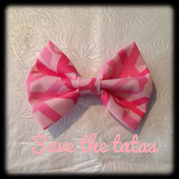 Pink Breast Cancer Awareness Bows by RachellesBows on Etsy