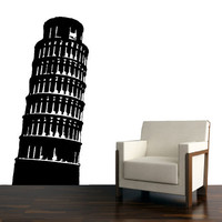 Tower of Pisa, European Architecture Vinyl Art design- For Office Space, Living Room and Wall Decal.