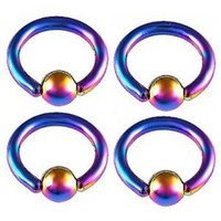 """monroe piercing jewelry eyebrow ball nose rings 14G 14 Gauge (1.6mm), 5/16"""" Inches (8mm) long - Rainbow Color Anodized surgical steel lip bars ear tragus closure bcr captive bead with 4mm ABQG - Pierced Body- Set of 4"""