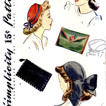 Original Vintage 1940s Hat and Purse Accessory Pattern- Size Large- Simplicity 4089