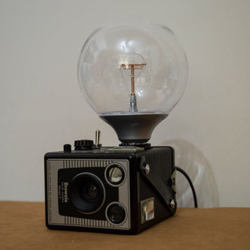 Vintage film Kodak Brownie camera light, lamp with LED 1.4W unique, upcycled.