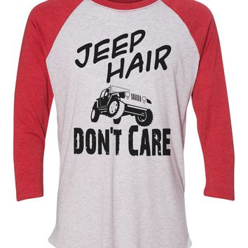 """Unisex Christmas Soft Tri-Blend Baseball T-Shirt """"Jeep Hair Don't Care"""" Rb Clothing Co"""
