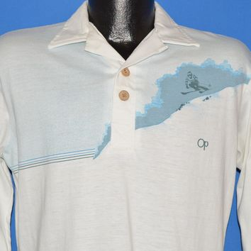 80s Ocean Pacific Skiing Long Sleeve Polo shirt Small